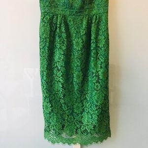 J. Crew Dresses - Green J. Crew. spaghetti-strap lace dress, size 00
